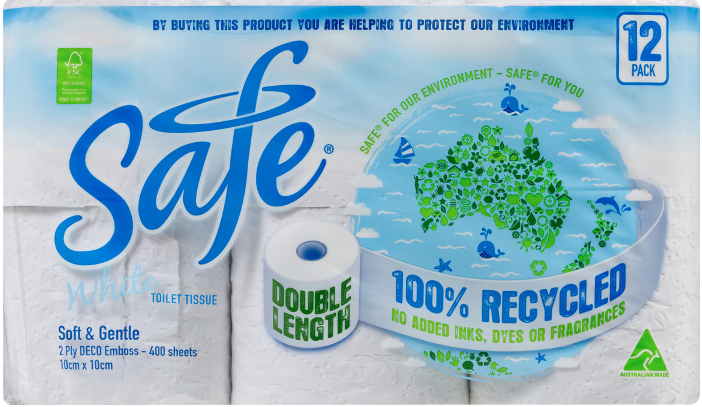 Safe recycled paper toilet tissue